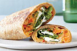 Roasted Red Pepper Hummus Veggie Wraps #recipe #wrap #dinner #snack