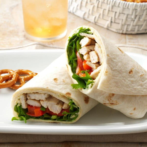 Warm Turkey & Tomato Wraps Recipe | Taste of Home #recipe #wrap #dinner #snack