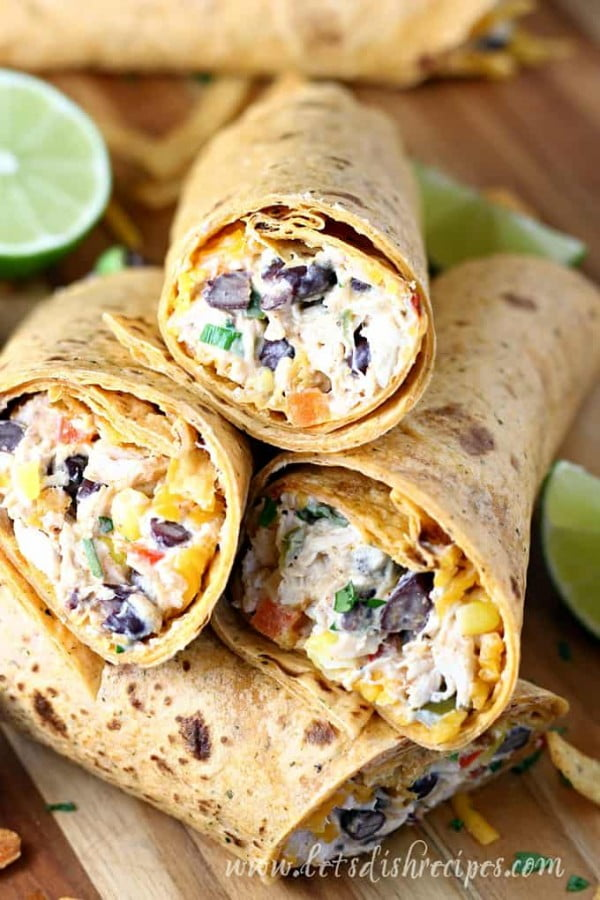 Southwest Cream Cheese Chicken Wraps | Let's Dish Recipes #recipe #wrap #dinner #snack