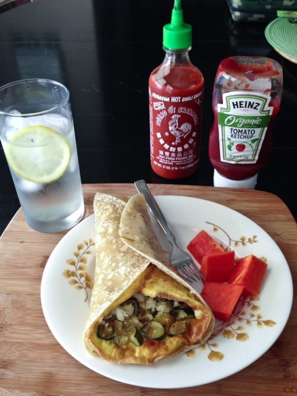 Lunch For One: Roasted Zucchini and Onion Frittata Wrap #recipe #wrap #dinner #snack
