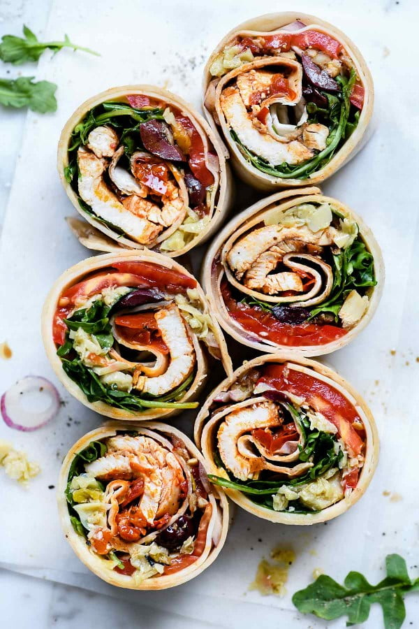 Italian Chicken Wrap | foodiecrush #recipe #wrap #dinner #snack