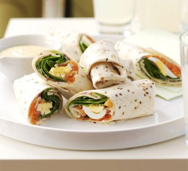 Salmon & egg wraps with mustard mayo #recipe #wrap #dinner #snack