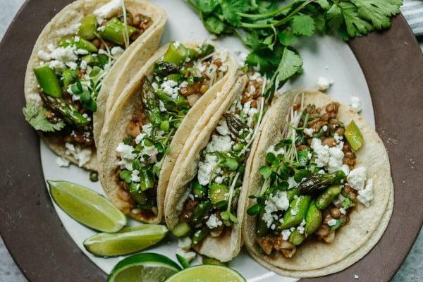 Spring Lentil + Asparagus Tacos #asparagus #sidedish #dinner #recipe #food