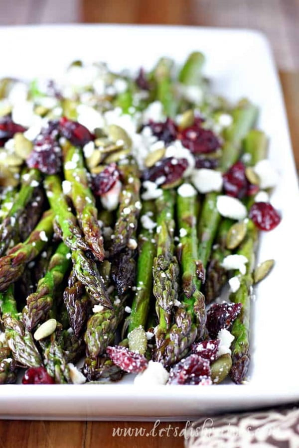 Maple Balsamic Roasted Asparagus with Cranberries and Feta | Let's Dish Recipes #asparagus #sidedish #dinner #recipe #food