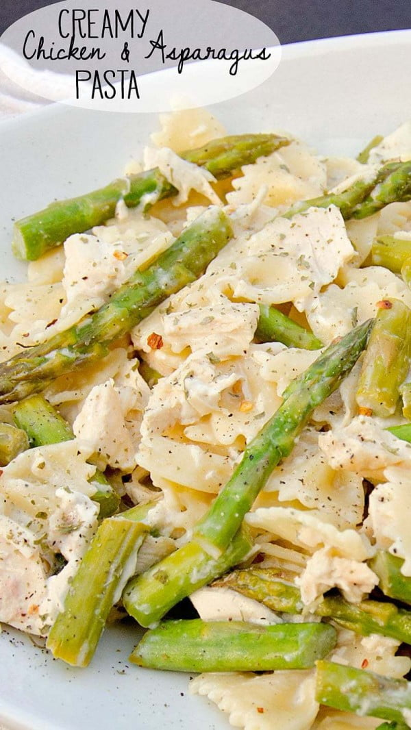 Creamy Chicken and Asparagus Pasta #asparagus #sidedish #dinner #recipe #food