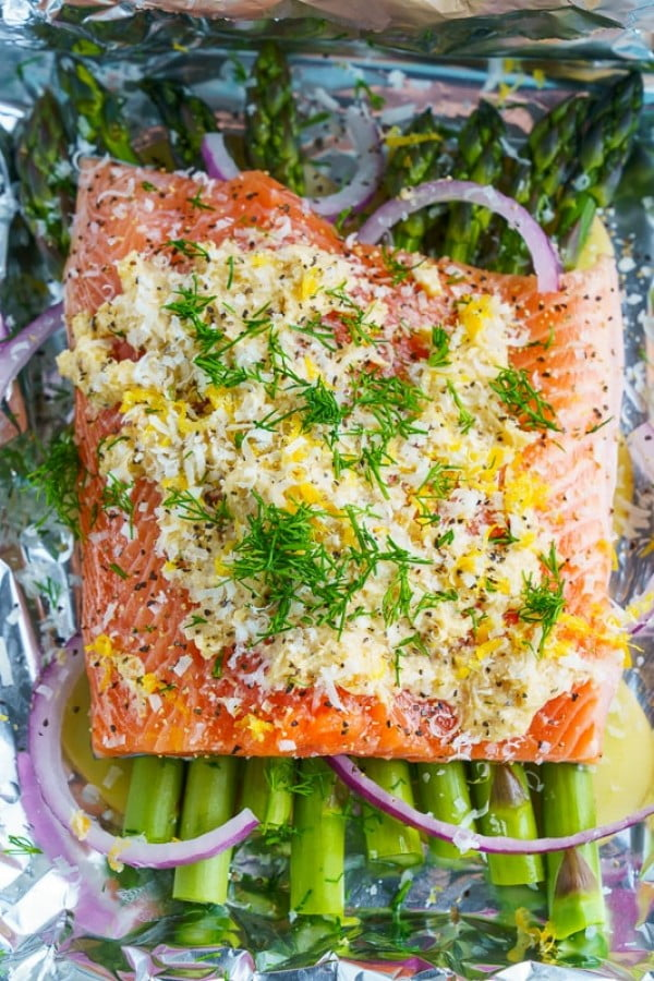 Lemon Miso Butter Parchment Salmon with Asparagus Recipe #asparagus #sidedish #dinner #recipe #food