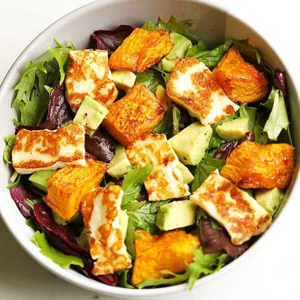 Pumpkin, Haloumi and Avocado Salad Recipe #avocado #recipe #food #dinner