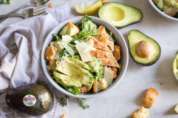 Avocado Chicken Caesar Salad #avocado #recipe #food #dinner