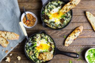 Baked Eggs With Creamy Greens, Mushrooms, and Cheese Recipe #recipe #eggs #breakfast
