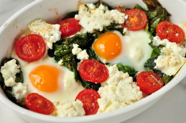 Baked Kale and Eggs with Ricotta #recipe #eggs #breakfast