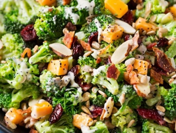 Cranberry Almond Broccoli Salad #recipe #broccoli #dinner #food