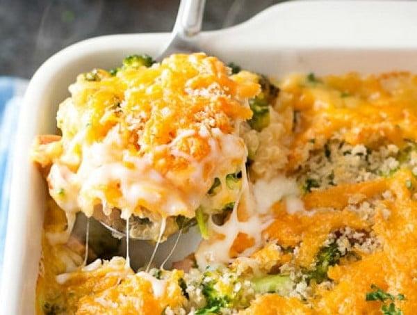 Cheesy Quinoa and Sausage Broccoli Casserole #recipe #broccoli #dinner #food