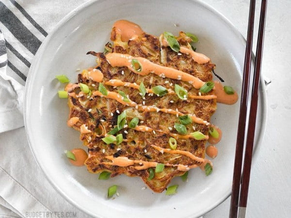 Savory Cabbage Pancakes (Okonomiyaki) #cabbage #dinner #recipe #food