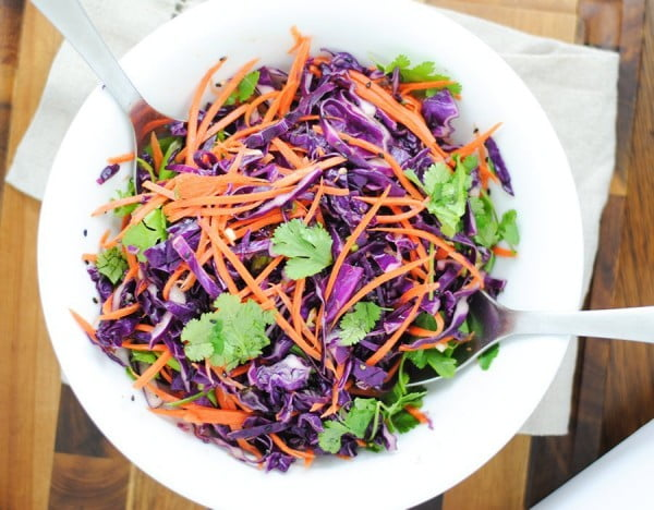 Easy Asian slaw with red cabbage and carrot #cabbage #dinner #recipe #food