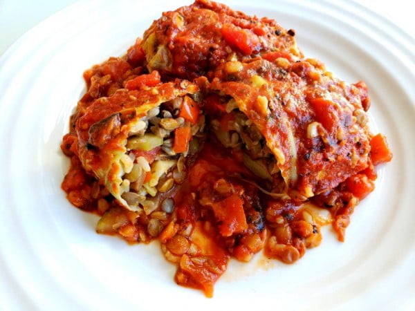 Vegan Cabbage Rolls with Lentils & Brown Rice #cabbage #dinner #recipe #food