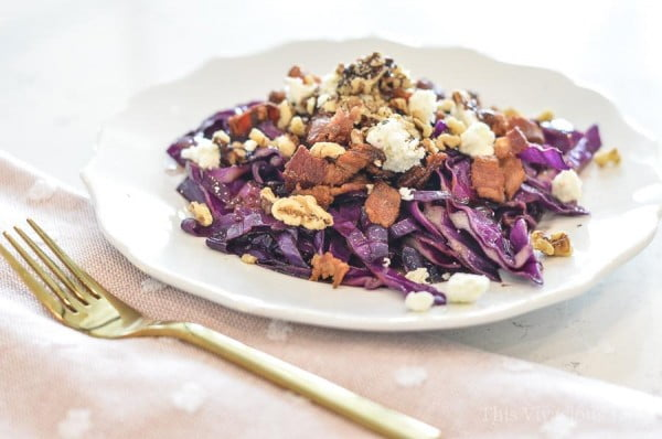 Bacon Cabbage Salad with Feta, Walnuts and Aged Balsamic #cabbage #dinner #recipe #food