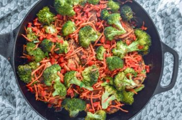 Cast Iron Chicken, Broccoli and Carrots #recipe #food #dinner #castironskillet