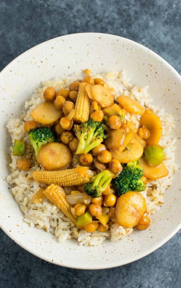 Vegan Chickpea Stir fry Bowl #chickpea #healthy #dinner