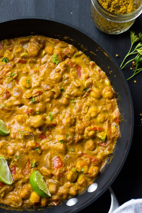 Coconut Chickpea Curry (Vegan & Gluten Free) (VIDEO) #chickpea #healthy #dinner