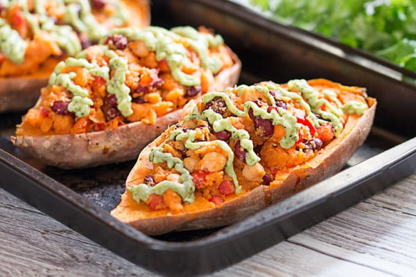 Stuffed Sweet Potatoes With Avocado Sauce #chickpea #healthy #dinner