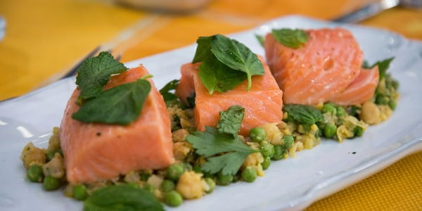Poach fresh salmon in flavorful olive oil for perfectly cooked fish #chickpea #healthy #dinner