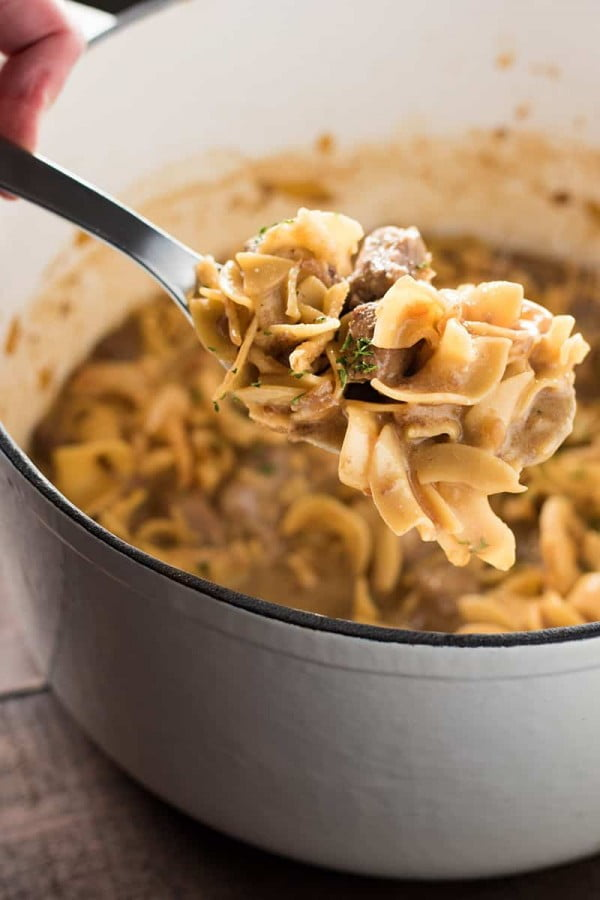 Creamy French Onion Beef and Noodles #comfortfood #food #dinner #recipe