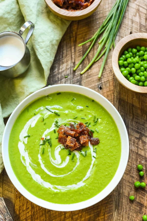 Green Pea Soup with Candied Bacon #soup #dinner #creamsoup #food #recipe