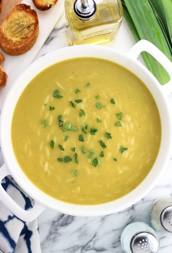 Healthy Potato Leek Soup with Orzo #soup #dinner #creamsoup #food #recipe