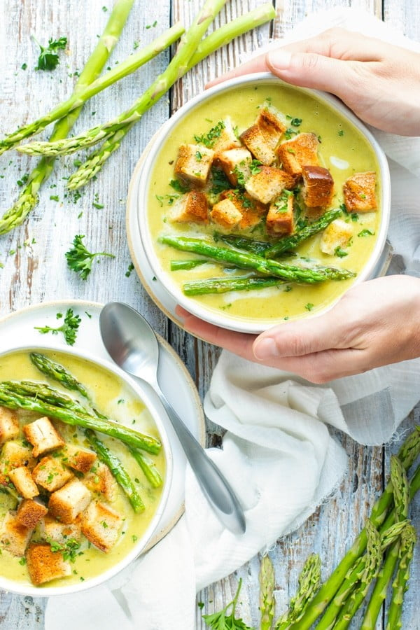 Healthy Cream of Asparagus Soup #soup #dinner #creamsoup #food #recipe