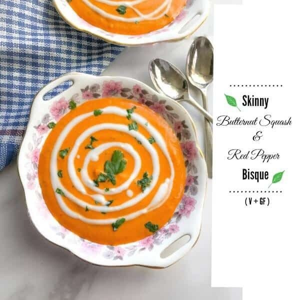 Skinny Butternut Squash and Red Pepper Bisque (Vegan & Glutenfree) #soup #dinner #creamsoup #food #recipe
