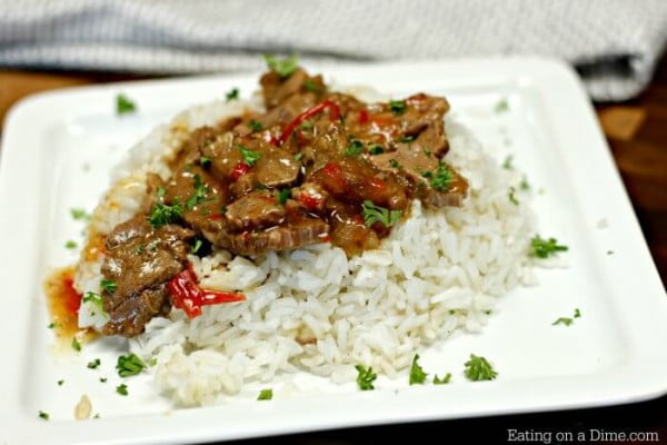 Crockpot Pepper Steak Recipe #crockpot #dinner #beef