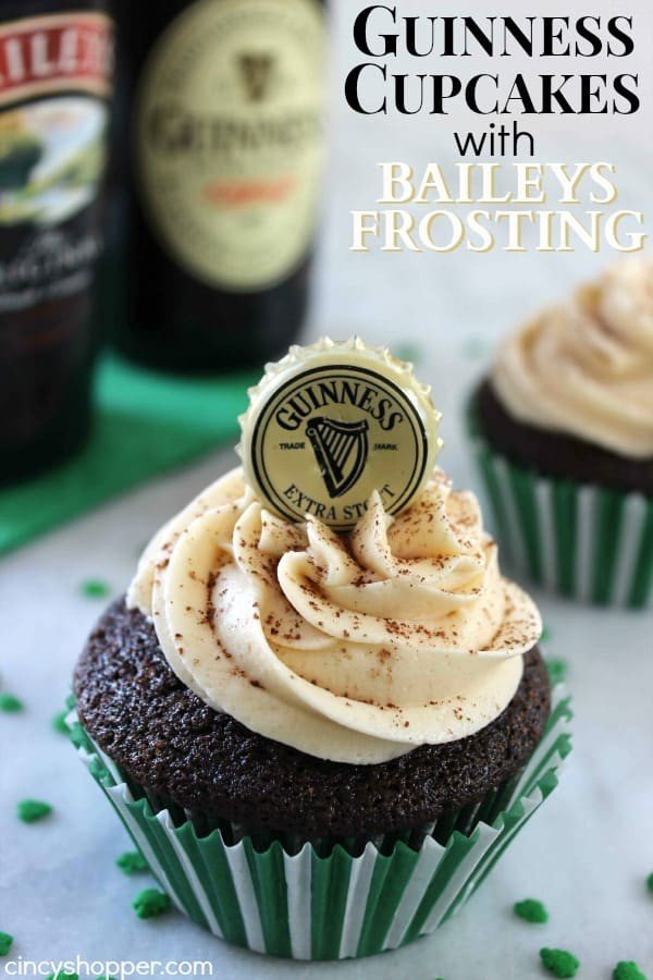 Guinness Cupcakes with Baileys Frosting #cupcakes #dessert #snack #food #recipe