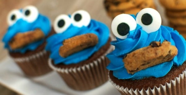 Cookie Monster Cupcakes #cupcakes #dessert #snack #food #recipe