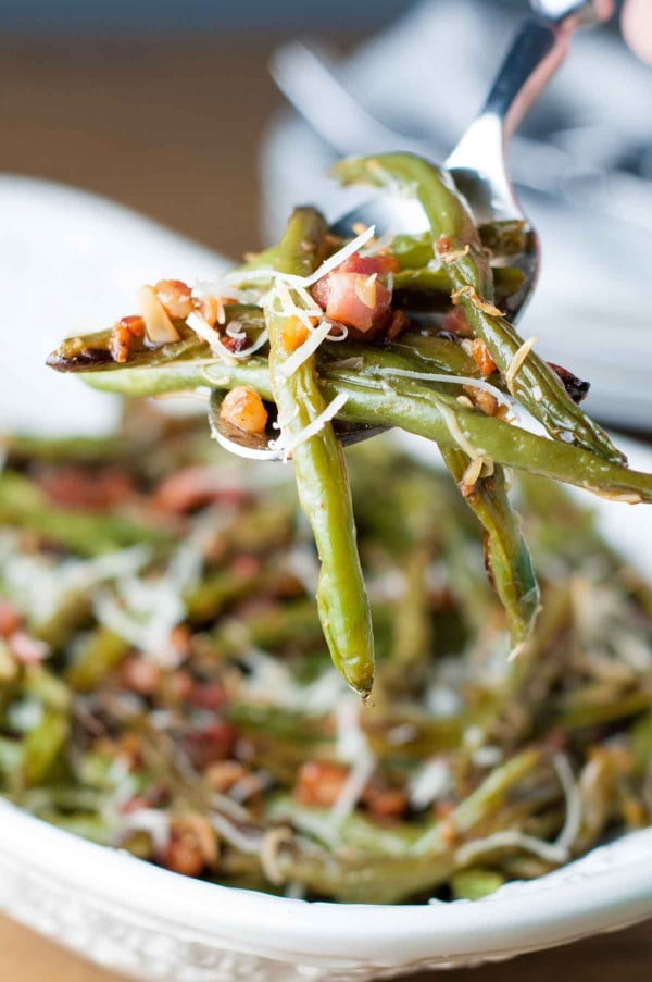 Roasted Pancetta Parmesan Green Beans Recipe #easter #dinner #recipe #food