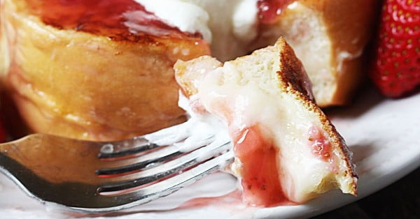 Strawberry Cheesecake Stuffed French Toast #breakfast #frenchtoast #recipe