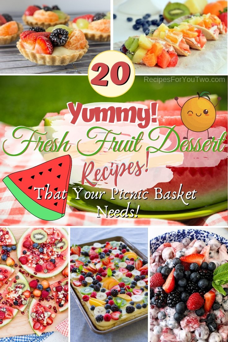 These are the yummiest fresh fruit dessert recipes that you can't do without in any picnic. Great ideas! #recipe #dessert #picnic #fruit #food