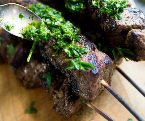 Beef Shish Kabobs with Chimichurri Sauce #grill #bbq #skewers #dinner #food #recipe