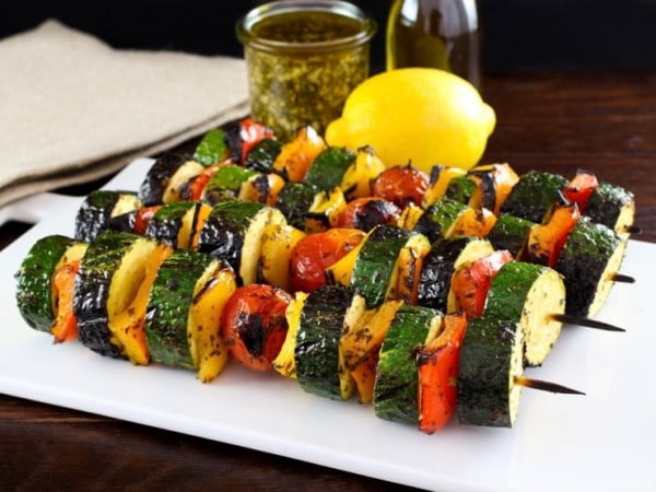 Lemon Pesto Vegetable Skewers #grill #bbq #skewers #dinner #food #recipe