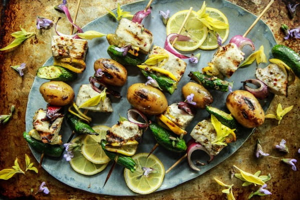 Grilled Swordfish Skewers with Lemon Garlic Sauce #grill #bbq #skewers #dinner #food #recipe