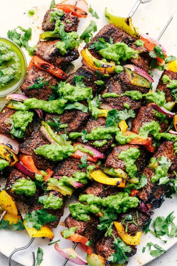 Grilled Steak Fajita Skewers with Avocado Chimichurri #grill #bbq #skewers #dinner #food #recipe