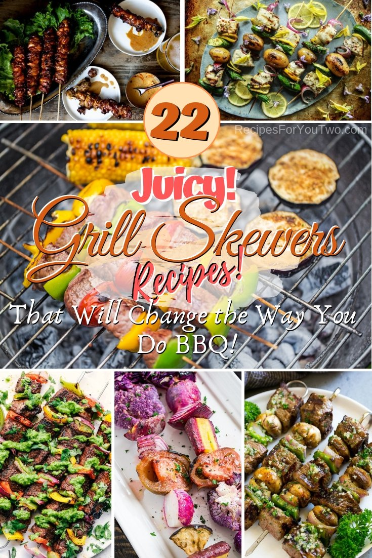 Make the best BBQ ever with these amazing grill skewer recipes. Great list! #grill #bbq #skewers #dinner #party #food #recipe