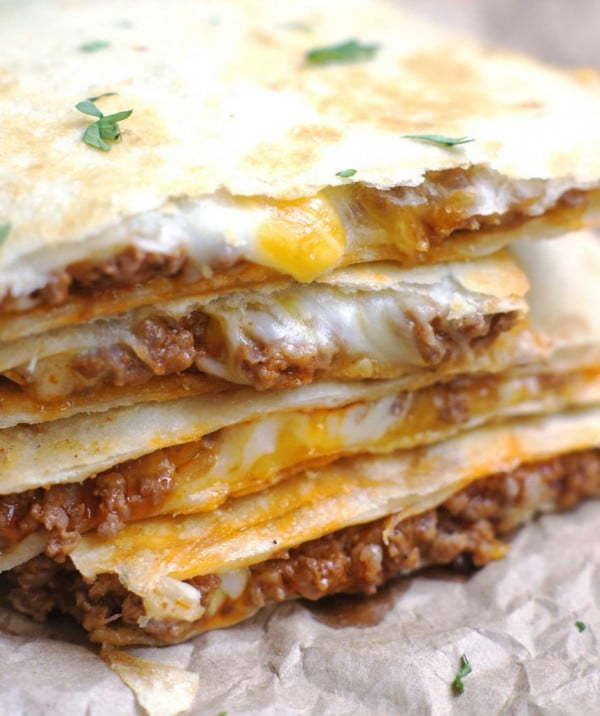 Cheesy Ground Beef Quesadillas #beef #dinner #recipe