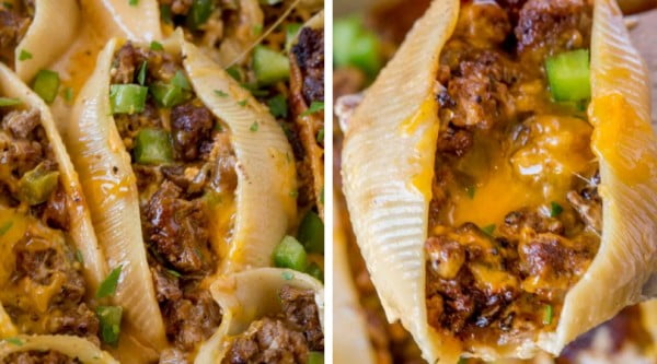 Philly Cheesesteak Stuffed Shells #beef #dinner #recipe