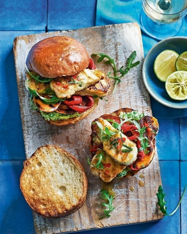 Halloumi and sweet potato burgers with chilli, mint and mashed avocado #burgers #healthy #recipe #lunch #dinner