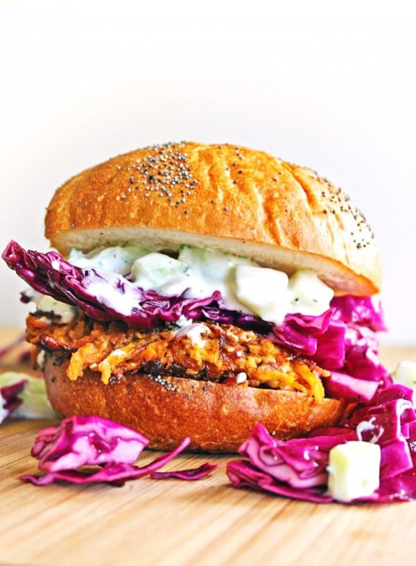 Carrot tahini quinoa veggie burger with tzatziki and purple slaw #burgers #healthy #recipe #lunch #dinner
