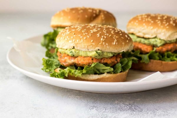 Cilantro-Lime Salmon Burgers #burgers #healthy #recipe #lunch #dinner