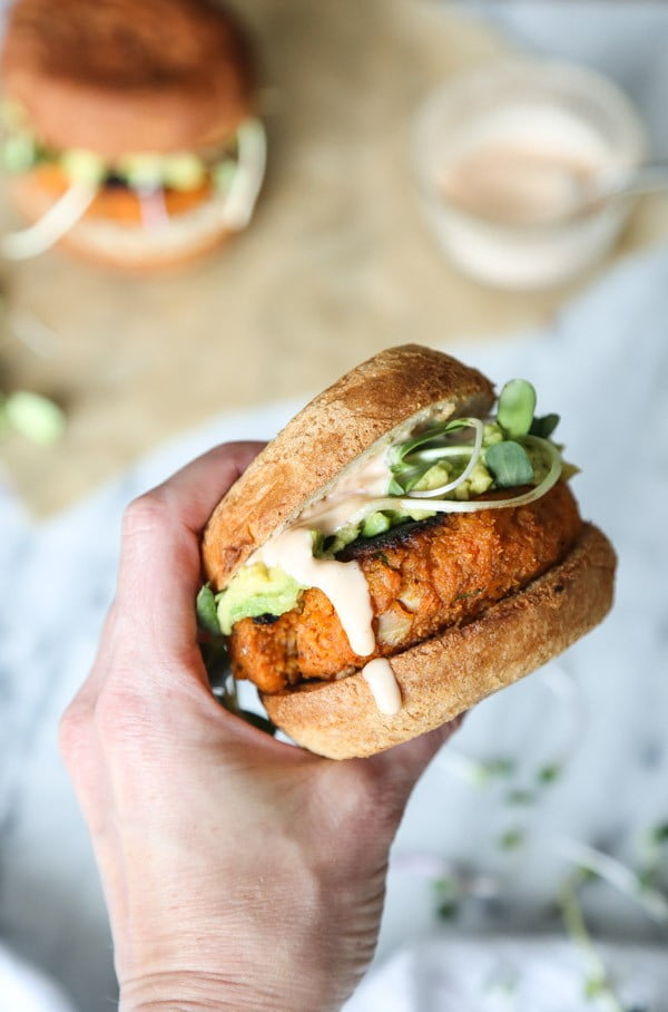 Cauliflower Sweet Potato Burgers (Vegetarian Paleo) #burgers #healthy #recipe #lunch #dinner