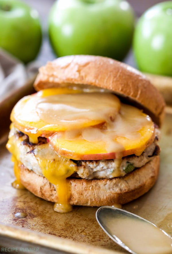 Apple Cheddar Turkey Burgers #burgers #healthy #recipe #lunch #dinner