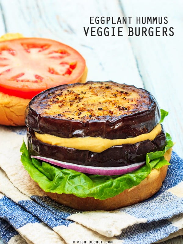 Eggplant Hummus Veggie Burgers #burgers #healthy #recipe #lunch #dinner