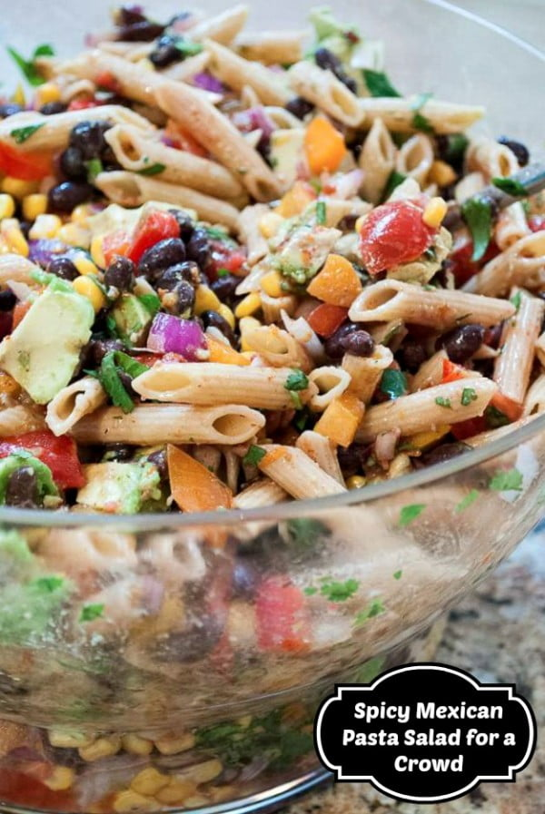 Spicy Mexican Pasta Salad for a Crowd #healthy #mexican #recipe #food #dinner